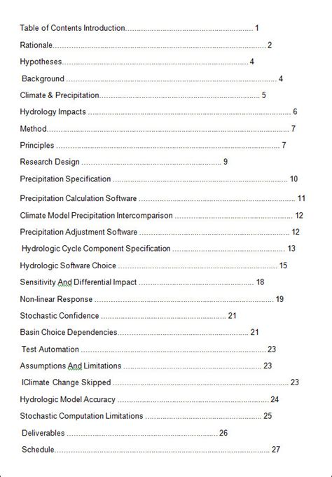 table  content templates  word excel