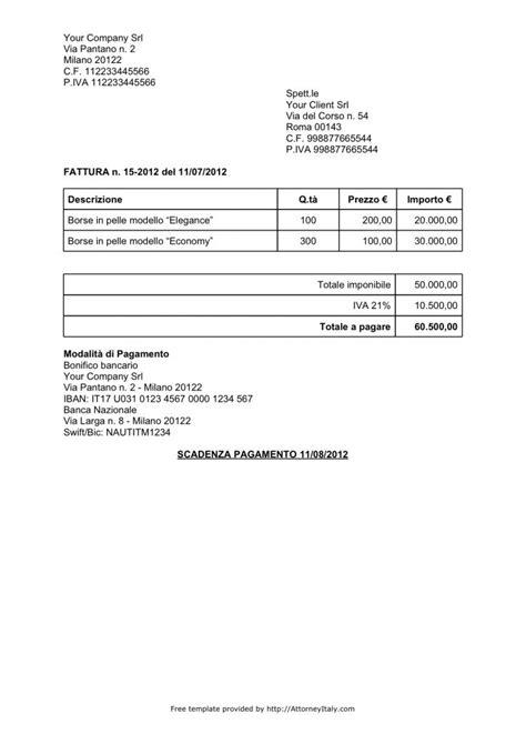italian invoice template  invoice  vat