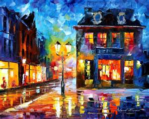 corner of the street palette knife oil painting on canvas by leonid afremov size 16 quot x20 quot