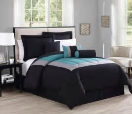 7 piece rosslyn black teal comforter set