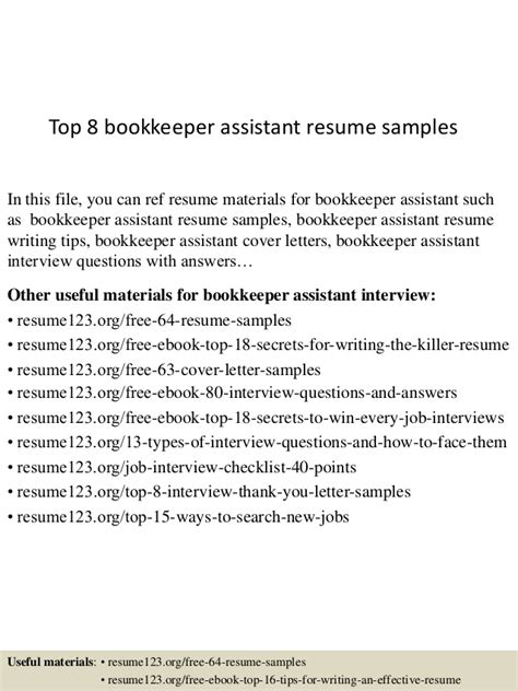 Assistant Bookkeeper Description For Resume by Top 8 Bookkeeper Assistant Resume Sles