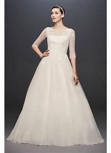 petite 3 4 sleeve wedding dress with lace bodice david39s With 3 4 sleeve wedding dress