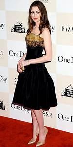 Anne Hathaway in a black & gold Alexander McQueen dress ...