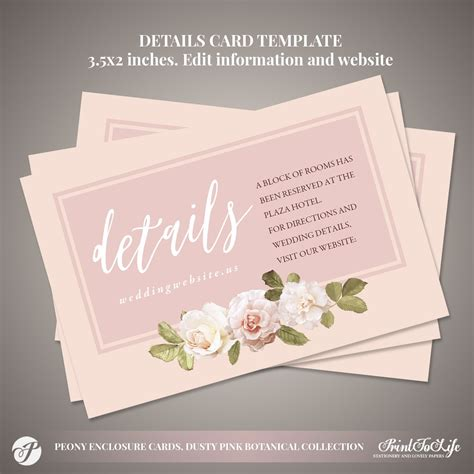 Peony Details Card Wedding information Card #Dusty Pink