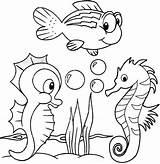 Coloring Seahorse Cartoon Animals Sea Horse Printable Coloringpagesfortoddlers Animal Colouring Seahorses Creatures Detailed Ocean Pokemon Visit Coloringfolder sketch template