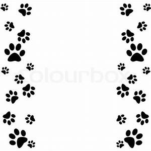 Paw clipart frame - Pencil and in color paw clipart frame
