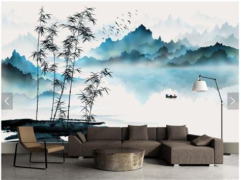 custom chinese painting wallpaper mountain  water boat