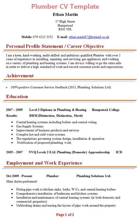 Plumber Resume Exles by Plumbing Resume Sle Resume Sle