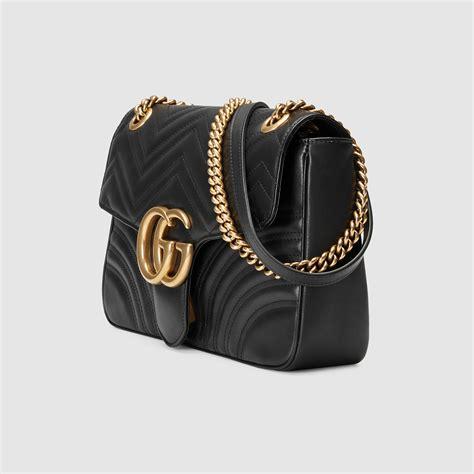 lyst gucci black leather web stripe small shoulder bag  black