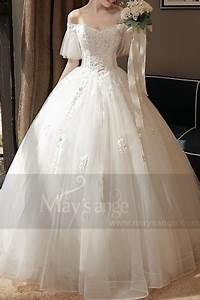 Robe de mariee pas cher m380 blanc for Robe romantique dentelle