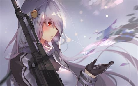 Anime With Gun Wallpaper - desktop wallpaper frontline white hair anime