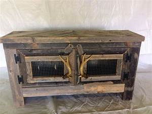 barn wood style tv stand with deer antler handles With barn board tv stand