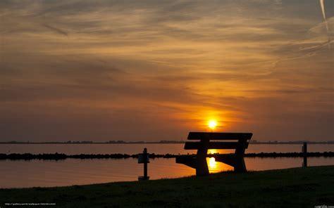 Download Hintergrund Sonnenuntergang, Himmel, Bank Freie