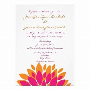 Simple pink and orange flowers wedding invitations for Minimalist floral wedding invitations