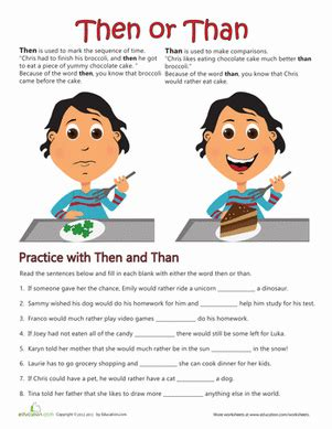 Then Or Than  Worksheet Educationcom