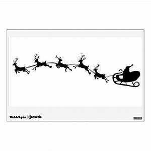 Santas Sleigh And Reindeer Silhouette Wall Decal Zazzle