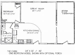 One room cabin floor plans one bedroom model 2439 x 32 for Bedroom floor plans 24 x 32