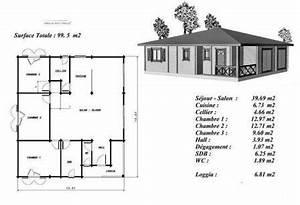 plan maison bois modele acajou plain pied petite terrasse With plan maison en bois gratuit
