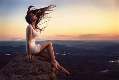Landscape Sitting Woman Eyes Closed Barefoot Rock
