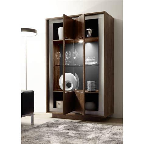 amber modern display cabinet  oak cognac finish