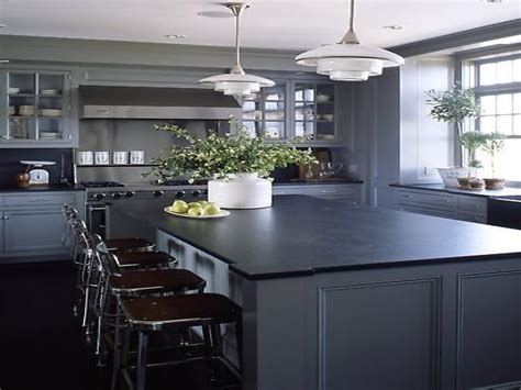 Black Countertops Grey Cabinets Kitchens Kitchen Design