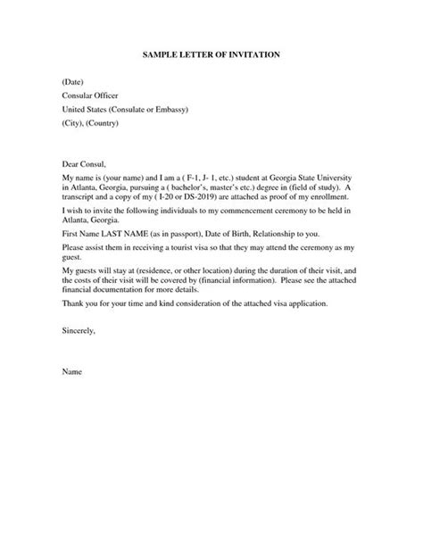 Invitation letter sample tourist visa usa visitor