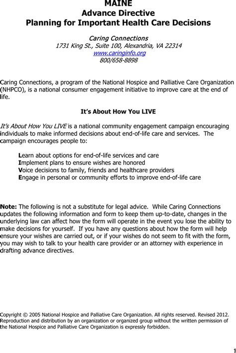 maine health care advance directive form free maine advance health care directive form pdf 75kb