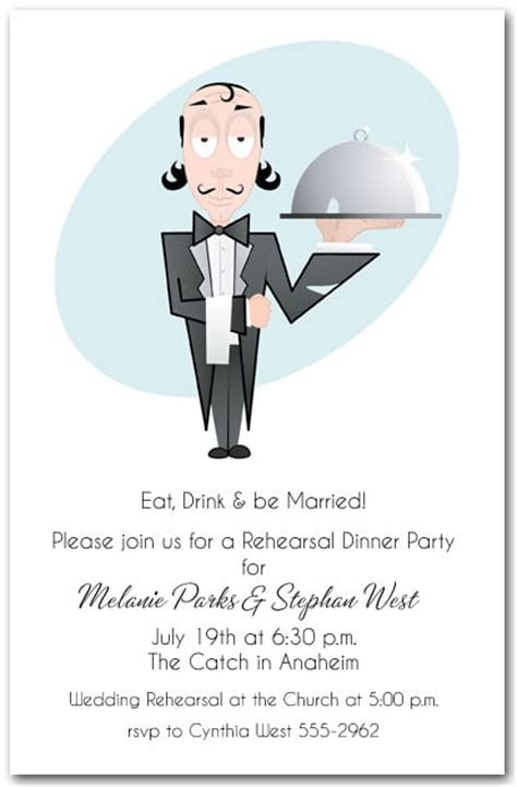 waiter  food tray party invitations