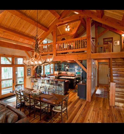 Open Cabin Open Floor Plan With Loft Wooden Walls Rustic Abode