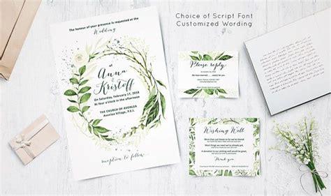 PERSONALIZED Greenery Wedding Invitation suite Botanical