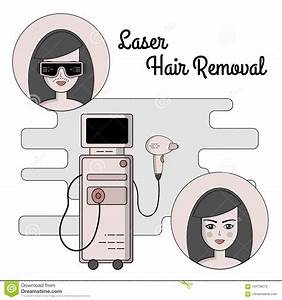 Vector Flat Illustration Of The Process Of Laser Hair
