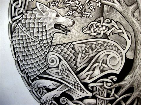 celtic wolf  tree tattoo design apanache