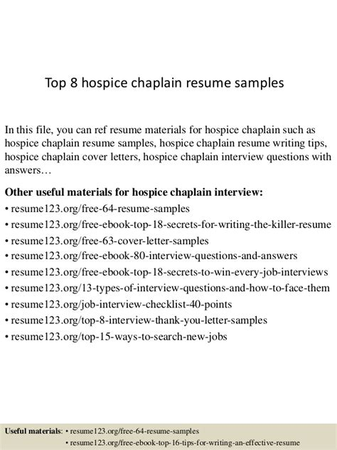top 8 hospice chaplain resume sles