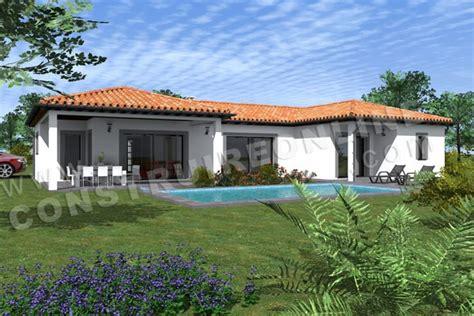 plan de maison en v plain pied 4 chambres plan de maison moderne zesty