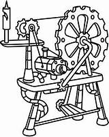Steampunk Spinning Wheel Urban Threads Urbanthreads Coloring Embroidery Printable Drawing Unique Rueca Awesome Aesthetic Outline Machine Patterns sketch template
