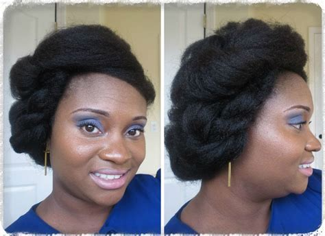 Boho Chic Natural Hair Updo on Blown Out 4c Hair   YouTube