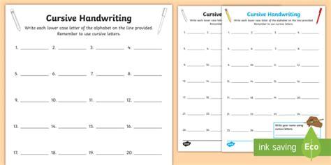 cursive handwriting assessment worksheet activity sheet