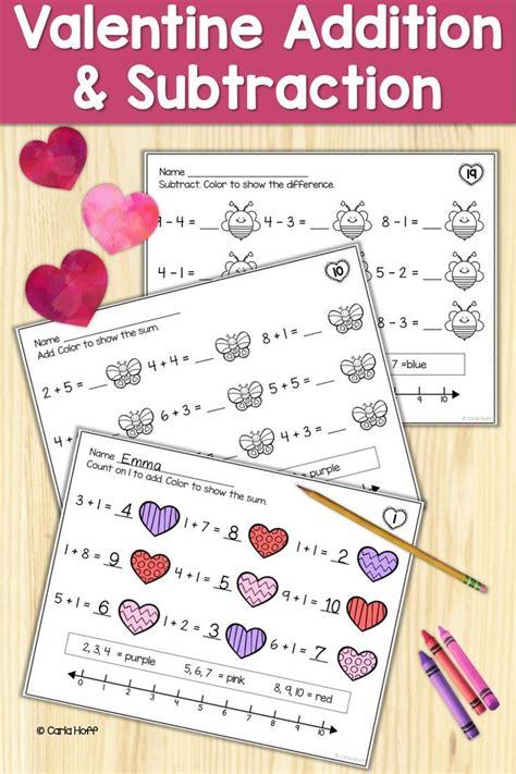 valentine addition  subtraction   worksheets