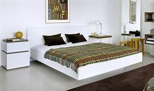 Lit Double Blanc : lit double blanc avec tte de lit design float lit blanc tte lit design cuir ~ Teatrodelosmanantiales.com Idées de Décoration