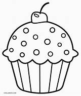 Coloring Cupcake Pages Cute Print sketch template