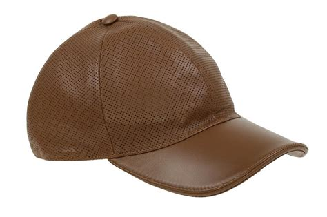 NEW GUCCI EXTRA SOFT BROWN PERFORATED LEATHER LOGO BASEBALL BALL CAP HAT S | eBay