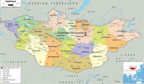 political map  mongolia ezilon maps