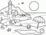 Coloring Beach Printable Pages Sheets Shore Lighthouse Print sketch template