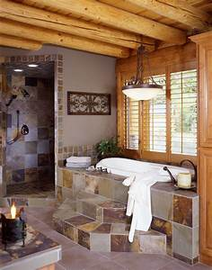 log home bathroom real log style With log cabins with bathrooms