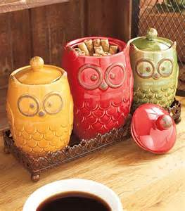 colorful kitchen canisters sets 8 pc autumn owl countertop collection canisters w tray measuring cup set ebay
