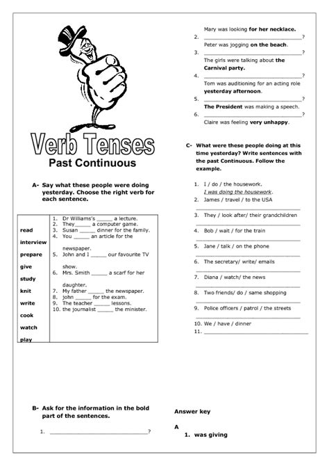 past continuous tense revision worksheet