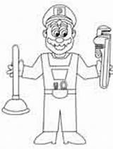 Coloring Construction Plumber sketch template