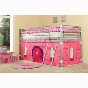 KIDS PRINCESS METAL MID SLEEPER GIRLS CABIN BUNK BED TENT ...