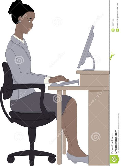 working on computer stock vector image