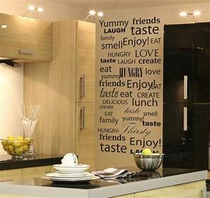 20 idees interessantes de deco murale cuisine With kitchen cabinets lowes with papier peint decoratif mural